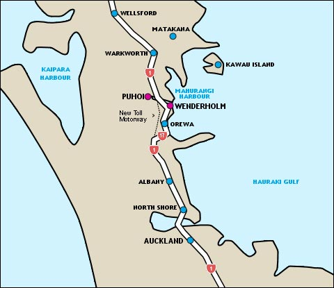 Auckland to Puhoi map