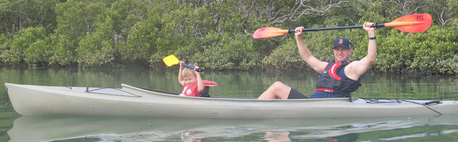 Father son kayaking adventure on Puhoi river